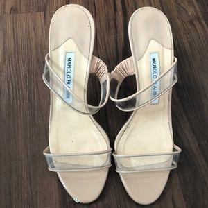 Shoes - Manolo Blahnik Silver Clear Slide Heels